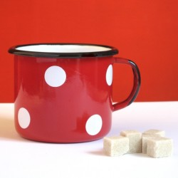 MUG - CUP RED WITH WHITE DOTS 0.50 L