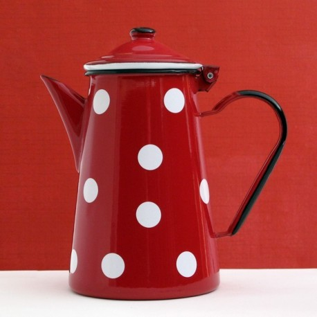 CAFETIERE ROUGE A POIS BLANCS