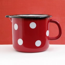 LIPPED POT RED WHITH WHITE DOTS