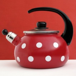 WATER KETTLE RED WITH WHITE DOTS