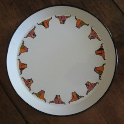 TRAY - BIG PLATE WITH BULL'S HEADS