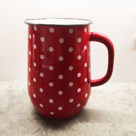 PITCHER RED WITH WHITE DOTS